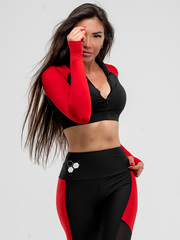 Женский лонгслив Olimp Crop TOP BLACK & RED
