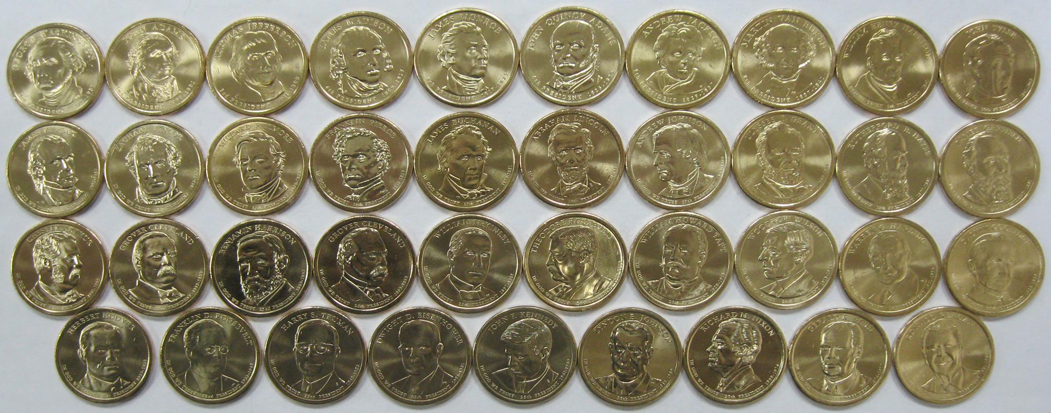 США 1 доллар набор 39 монет Президенты 2007-2016 Полный набор (микс дворов P+D)