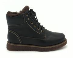 Зимние кожаные ботинки черного цвета со шнуровкой