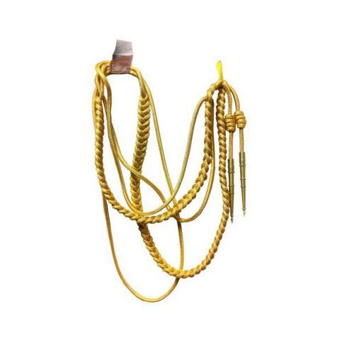 Аксельбант офицерский 2 наконечника золотой