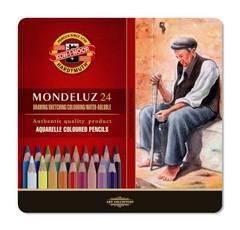 Набор художественных акварельных карандашей MONDELUZ OLD MAN 24 цвета в металлической коробке