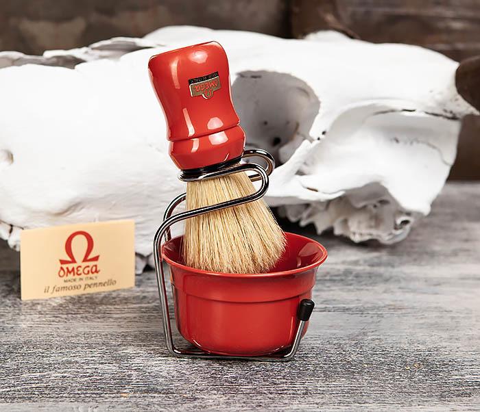 RAZ410-3 Набор из помазка, подставки и чаши от Omega (красный)