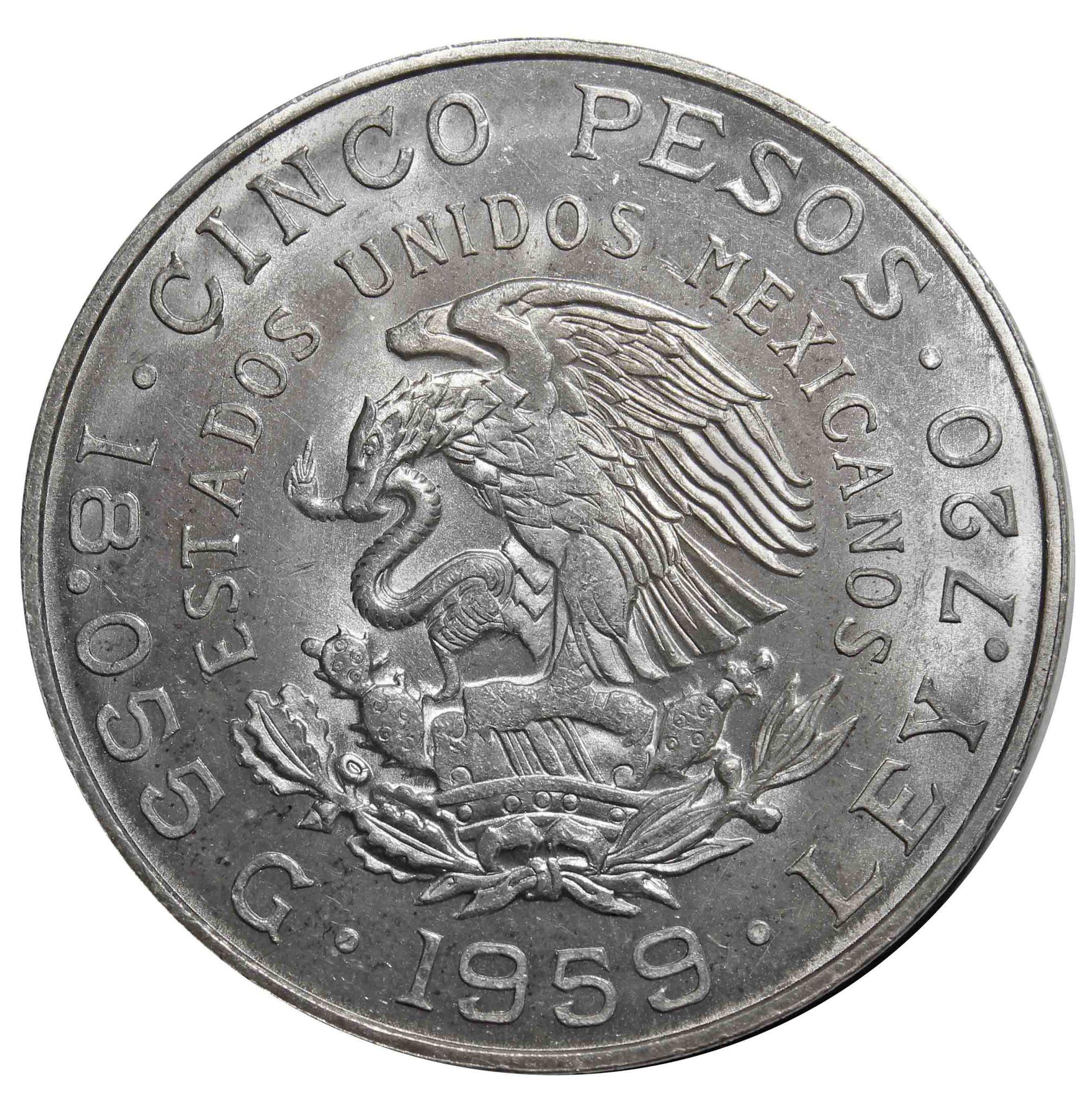 5 песо. 100 лет со дня рождения Венустиано Карранса. 1959 год. Серебро. AU