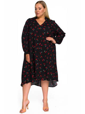 Платье свободное асимметричное Вишни