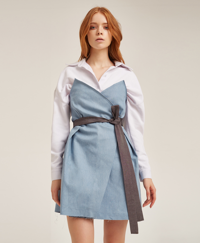 Платье-корсаж из голубого денима