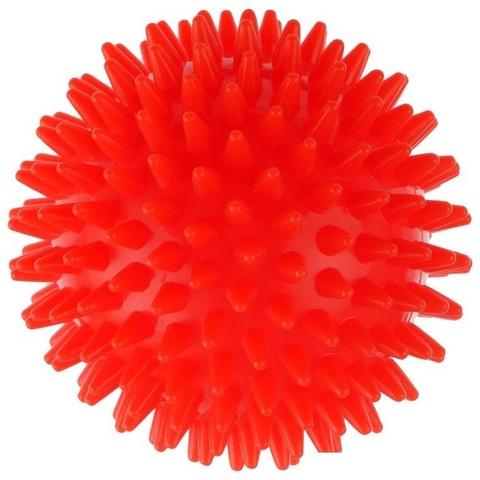 Массажный шарик Ежик ,9 см, пластик красный