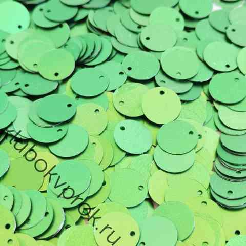 Пайетки круглые 12мм 50гр, Зеленый