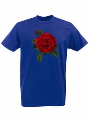 Футболка с принтом Цветы (Розы) синяя 001