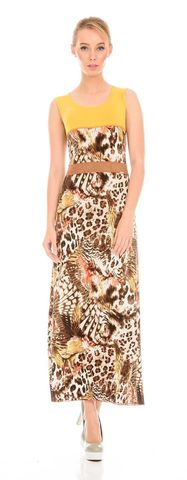 Фото платье макси с анималистичным принтом и контрастными вставккми - Платье З084-200 (1)