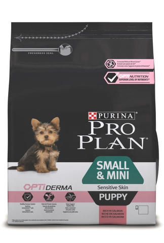 Сухой корм Purina Pro Plan для щенков мелких и карликовых пород с чувствительной кожей, лосось с рисом