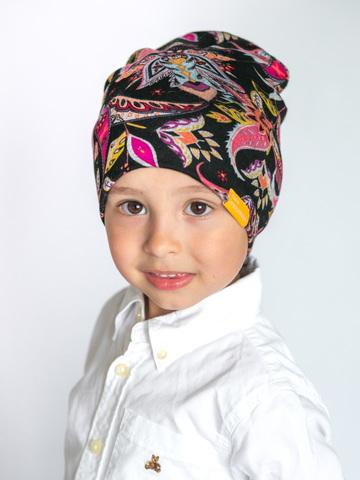 детская шапка из турецкой шерсти пейсли-огурцы черно-ягодная
