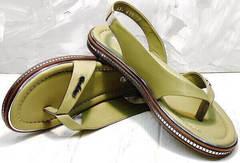 Женские летние босоножки сандали через палец женские Evromoda 454-411 Olive.