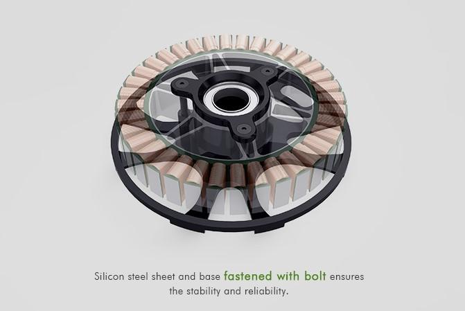 Дополнительное усиление мотора никилированными винтами повышает надёжность и прочность конструкции