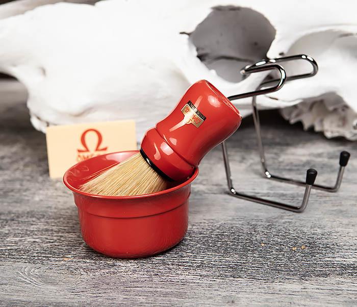 RAZ410-3 Набор из помазка, подставки и чаши от Omega (красный) фото 04