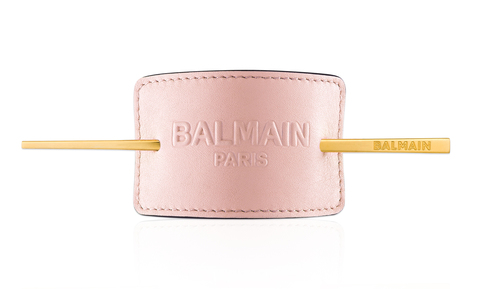 Balmain Заколка для волос кожаная с тиснением пастельный розовый Лимитированная Коллекция