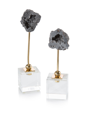 Set of Two Silver Geodes on Cubes
