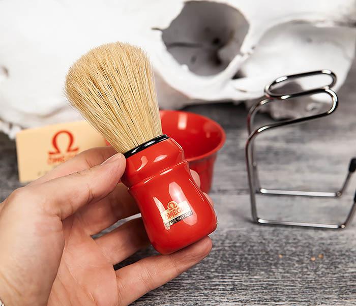 RAZ410-3 Набор из помазка, подставки и чаши от Omega (красный) фото 05