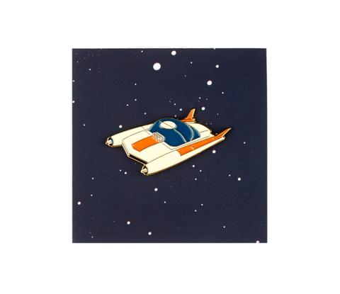 Значок металлический Космос'61: Машинка Белая