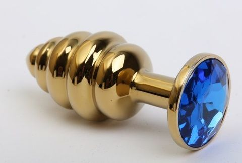 Золотистая ребристая анальная пробка с синим стразом - 7,3 см.