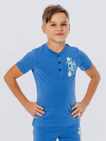 Футболка с воротником синяя для мальчика купить