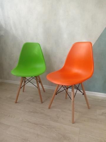 Интерьерный дизайнерский кухонный стул Eames DSW Style Wood, зеленый (салатовый)