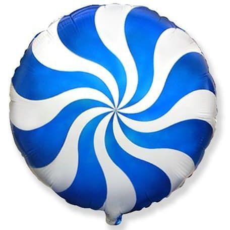 Фольгированный шар круг , Леденец, синий 46 см