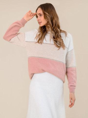 Женский джемпер с полосами бежево-розового цвета из ангоры - фото 2
