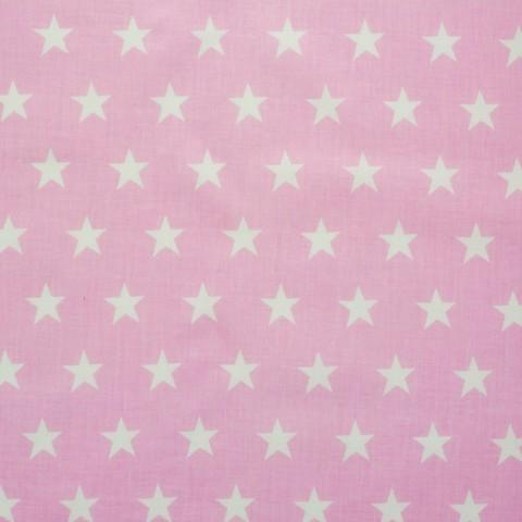 Ткань хлопковая белые звезды на розовом, отрез 50*80 см