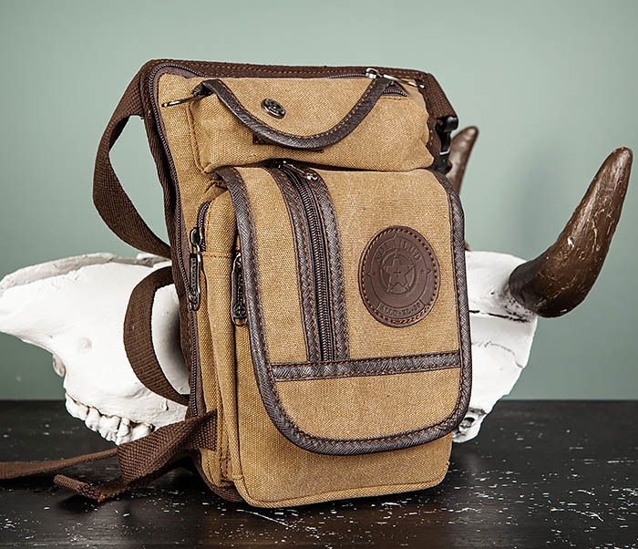 BAG506-2 Текстильная сумка на бедро коричневого цвета фото 02