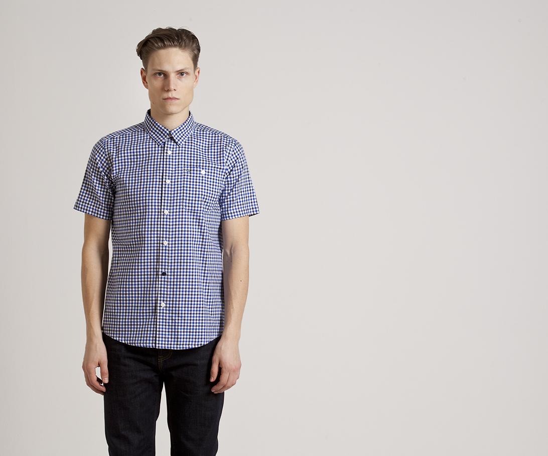 Мужская рубашка с коротким рукавом Weekend Offender Roscoe Blue. Коллекция весна-лето 2016.