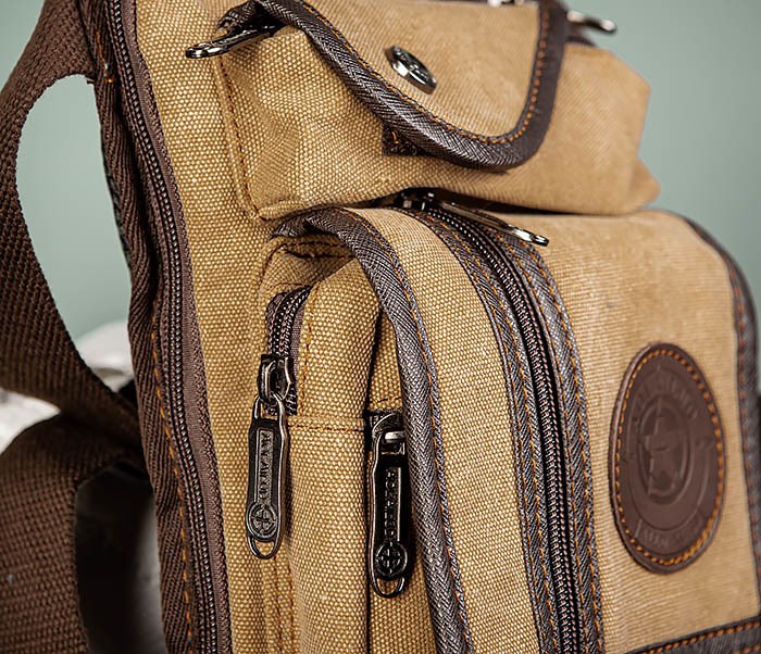BAG506-2 Текстильная сумка на бедро коричневого цвета фото 03