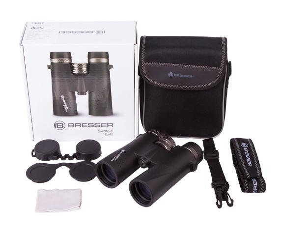 Бинокль Bresser Condor UR 10x42 - комплект поставки, сумка-чехол, ремешок, гарантийный талон