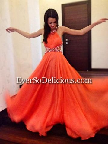 Анна в  коралловом платье от Jovani 7506!