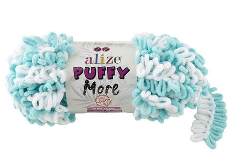 Купить Пряжа Пуффи Море цвет 6269 белый-лазурный | Интернет-магазин пряжи «Пряха»