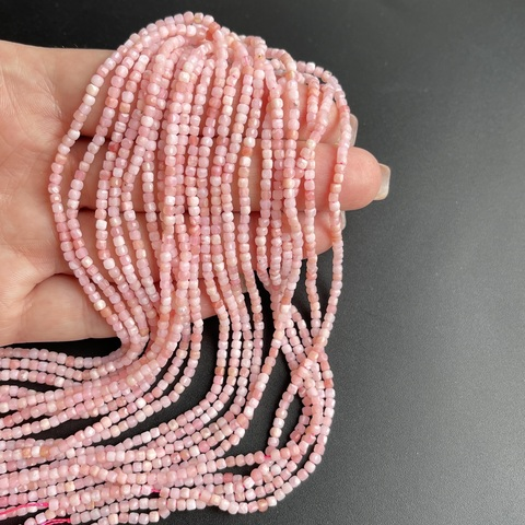Бусины опал розовый А+ кубик граненый 2,5 мм нить 39 см