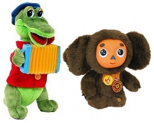 Чебурашка и крокодил Гена мягкие игрушки 25 см