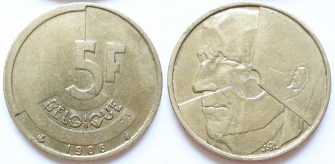 Бельгия 5 франков 1986