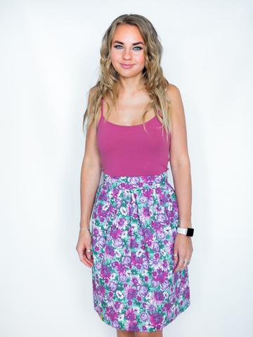 Юбка хлопковая мятно-фиолетовая в цветах
