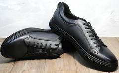 Мужские кеды кожа Komcero 9K9154-734 Black-Grey