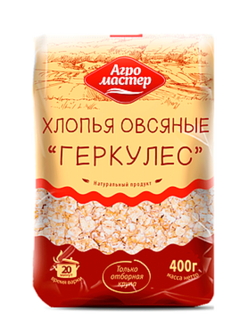 """Хлопья овсяные """"Агромастер"""" геркулес 800г"""