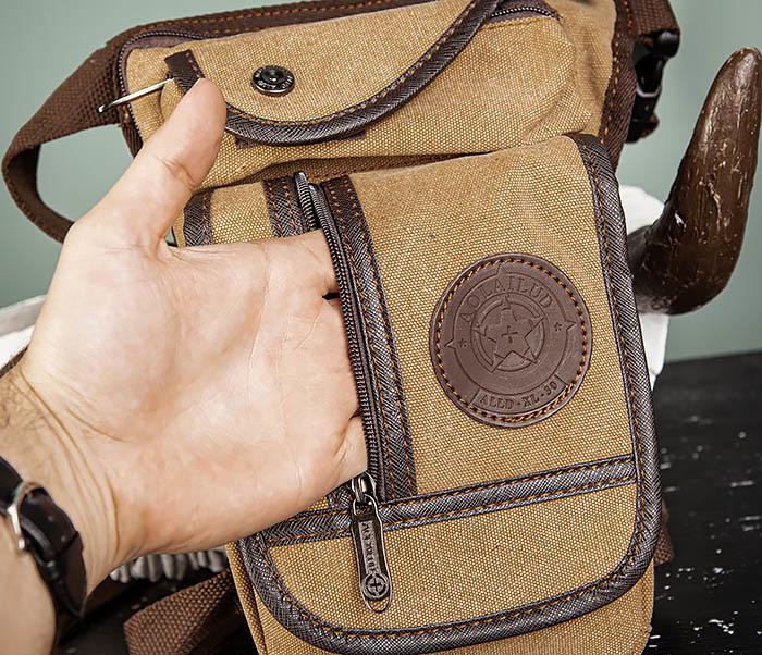 BAG506-2 Текстильная сумка на бедро коричневого цвета фото 06