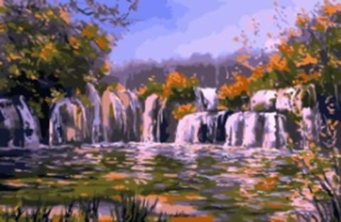Картина раскраска по номерам 40x50 Большой водопад