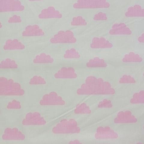 Ткань хлопковая розовые облачка на белом