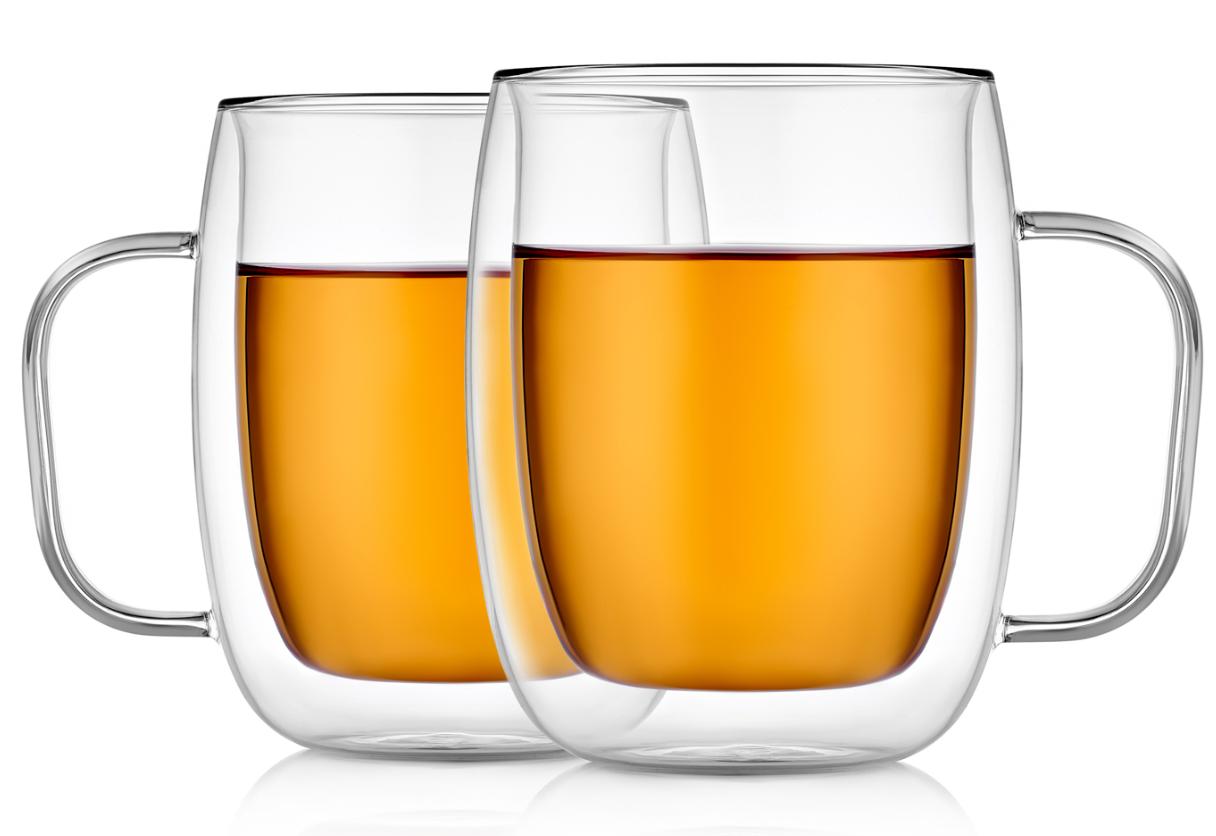Кружки (двойная кружка) Стеклянные прозрачные кружки с двойными стенками, 450 мл B2-026-450.PNG