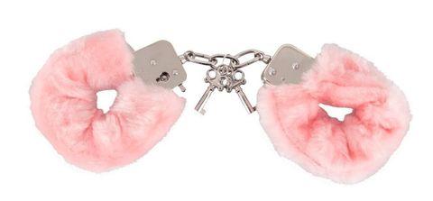 Розовые меховые наручники Love Cuffs Rose