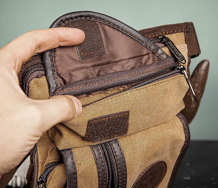 BAG506-2 Текстильная сумка на бедро коричневого цвета фото 07
