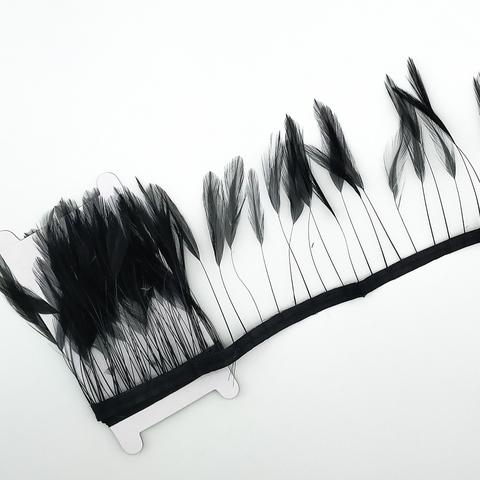 Тесьма  из перьев петуха на ножке h-10-15 см ,чёрный