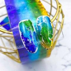 Фольга четырехцветная ОСКОЛКИ (желтый,зеленый,голубой, фиолетовый градиент) 1 метр