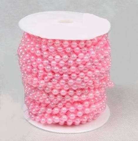 Бусы на бобине (размер: 6мм х 20м) Цвет:розовый