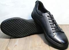 Кожаные кеды мужские черные Komcero 9K9154-734 Black-Grey